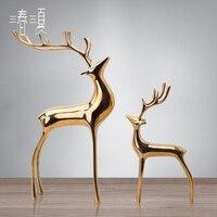 Чистый Медь фигурка оленя фарфор оленей Семья животных статуя современные украшения свадебный подарок домашнего кабинета Декор