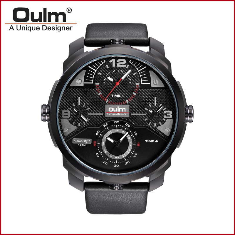 Oulm 3749 Big Dial Famous Brand Luxury Clock Men Military Wristwatch Quartz Watch with Leather Band Watches Waterproof oulm men dual movt big dial japan luxury military watches men stainless steel strap wristwatches male golden clock