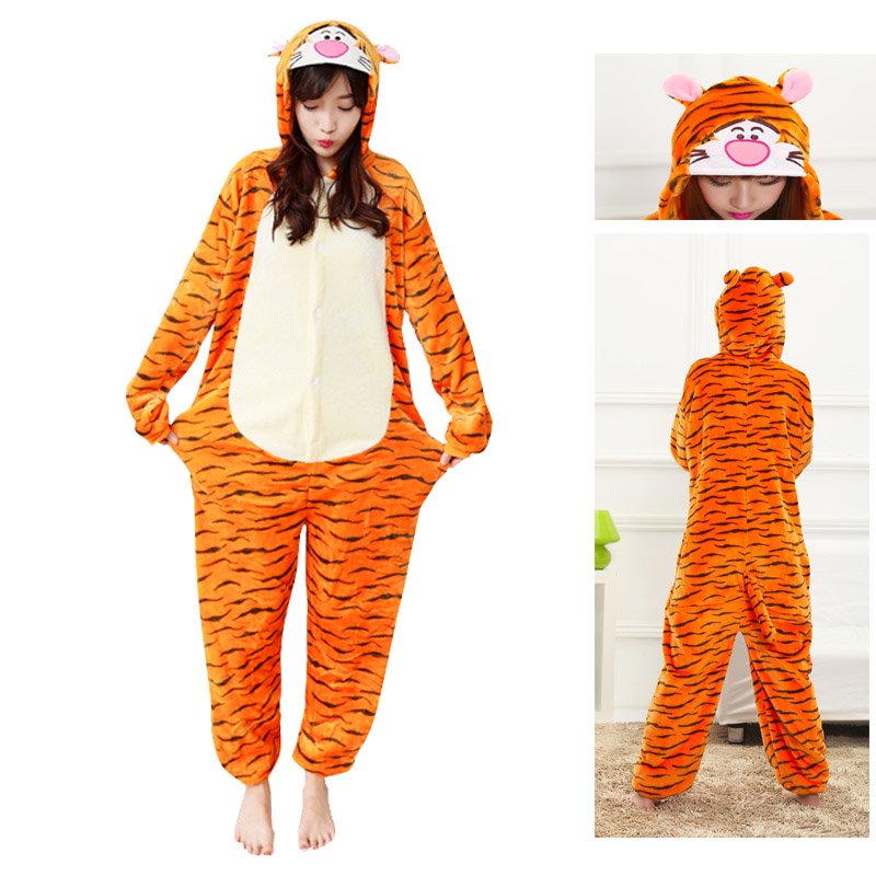 2019 Tigger Adult Unisex Kugurumi Pajamas Set Anime Coaplay Cartoon Sleepwear Home Clothing Pyjamas Blue Stitch Tigger