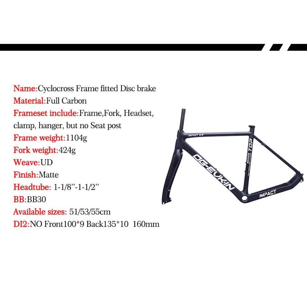 OG-EVKIN CF-020 дороги углерода рама велокросс раме велосипеда дисковый тормоз BB30 38C шин углеродная рама дорожного велосипеда 51/53/55 см