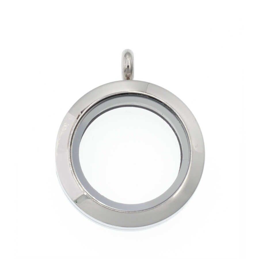 1p 25mm/30mm kristal yuvarlak oturma yüzen cam bellek takılar madalyon madalyon 316 L paslanmaz çelik madalyon fit kolye yapımı