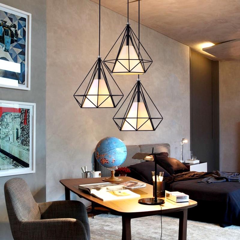 ФОТО American industrial loft vintage Cage pendant lights for dining room iron black E27 Edison bulb pendentes para sala de jantar