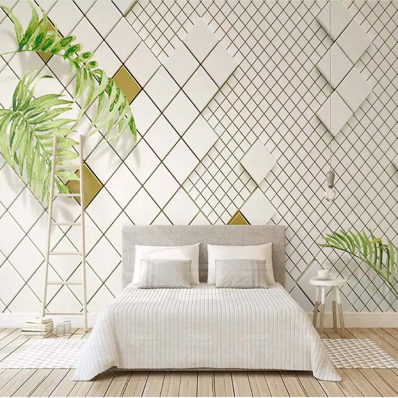 simple modern 3d background wall bedroom living murals plaid fresco mosaic stereo cloth mural decor any custom tv painting aliexpress