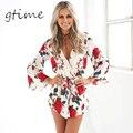 GTIME Boho estampado de flores rojo elegante estilo sexy escote en v mujeres playsuit mono mameluco Verano Playa gasa trajes # WGT45
