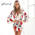 GTIME  Boho red floral print elegant jumpsuit romper Summer style sexy v neck women playsuit Beach chiffon overalls # WGT45