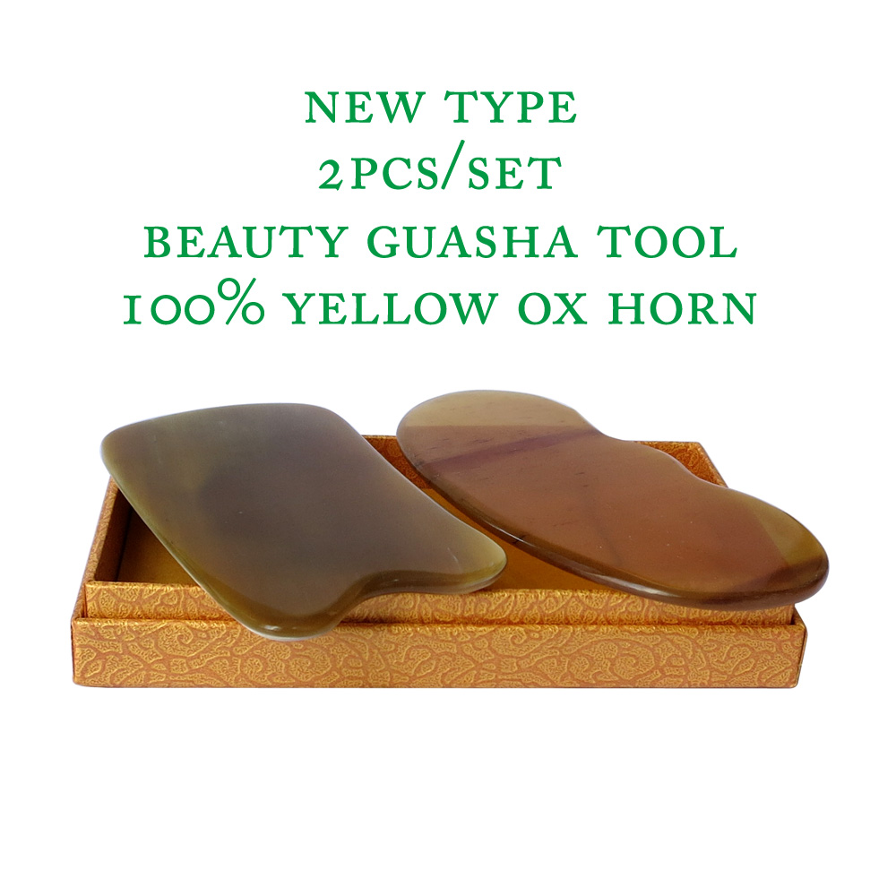 2pcs/set New type 100% yellow ox horn thicken high polishing beauty guasha tool 1pcs reniform and 1pcs square plate high quantity medicine detection type blood and marrow test slides