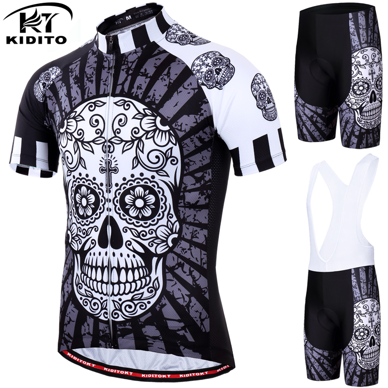 KIDITOKT 2019 Skull Cycling Jersey Set Quick-Dry MTB Bicycle Clothes Wear Mountain Bike Clothing 100% Polyester Cycling Set