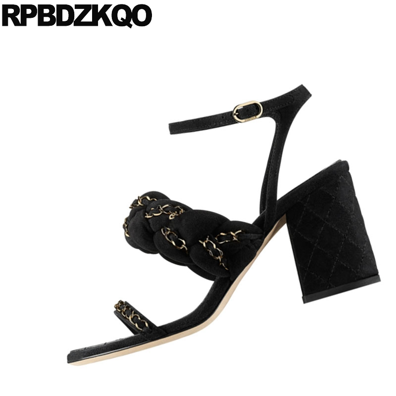 a1c8f4c5c Block Open Toe Heels Black Thick Orange Designer Shoes Chain Runway Sandals  Pumps Slingback Women High Ankle Strap 2018 Square-in High Heels from Shoes  on ...