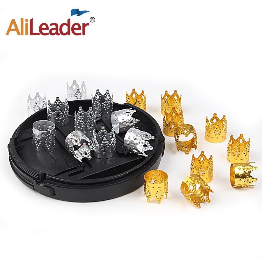 50/100Pcs Metalen Haar Vlecht Dread Dreadlock Kralen Kroon Holle Design Verstelbare Haar Manchetten Clips Ring Buis gouden Sieraden