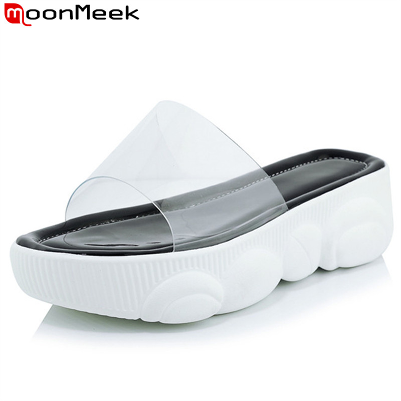 MoonMeek 2019 summer new shoes woman PVC flat platform sandals women comfortable slingback slipper casual sandals women big sizeMoonMeek 2019 summer new shoes woman PVC flat platform sandals women comfortable slingback slipper casual sandals women big size