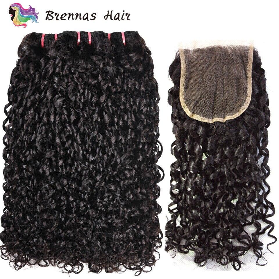 Cabelo Funmi Desenhado dupla pixie 3 pacotes com fechamento onda kinky curly cabelo humano weave grosso termina remy fumi cabelo extensão