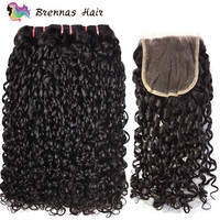 Double Drawn Funmi hair 3 bundles with closure pixie curl kinky curly human hair weave thick ends fumi remy hair extension