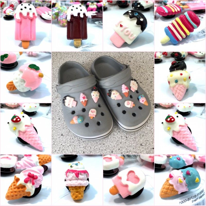 2pcs Lovely Ice Cream Resin Shoe Charms Accessories Cute Buckles Fit Wristbands Bracelets Croc Decor JIBZ Kids Party Gift