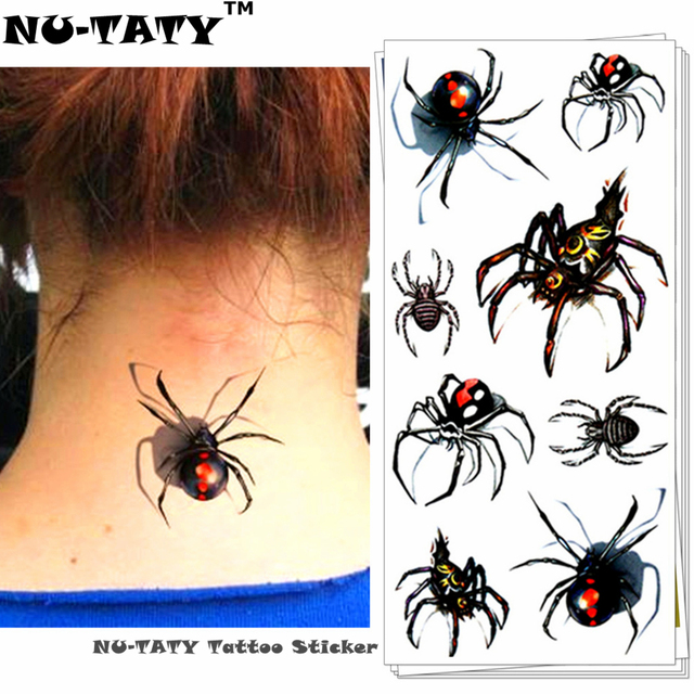 Nu-TATY Sexy Black Spider 3d Temporary Tattoo Body Art Flash Tattoo Stickers 19x9cm Waterproof Tatoo Home Decor Wall Sticker