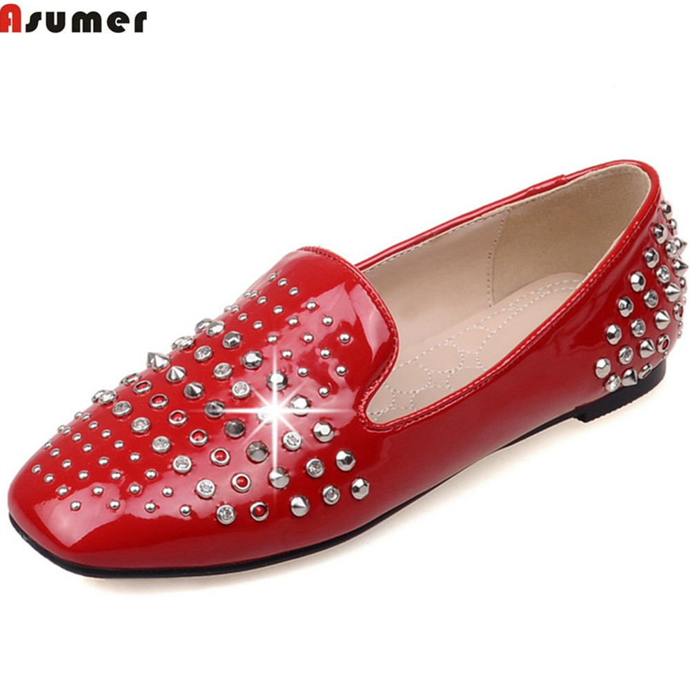 ASUMER black red fashion spring autumn ladies single shoes square toe shallow casual rivet women flats plus size 33-46 fashion women pointed toe flats shoes spring autumn rivets bowtie shallow slip on woman ballet flats ladies single shoes pink