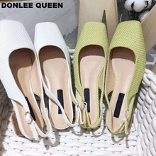 2019 New Summer Low Heel Sandals Back Strap Slip On Mules Square Toe Casual Shoes Fashion Cane Weave Spring Shoe sandalias mujer convertible strap low heeled mules