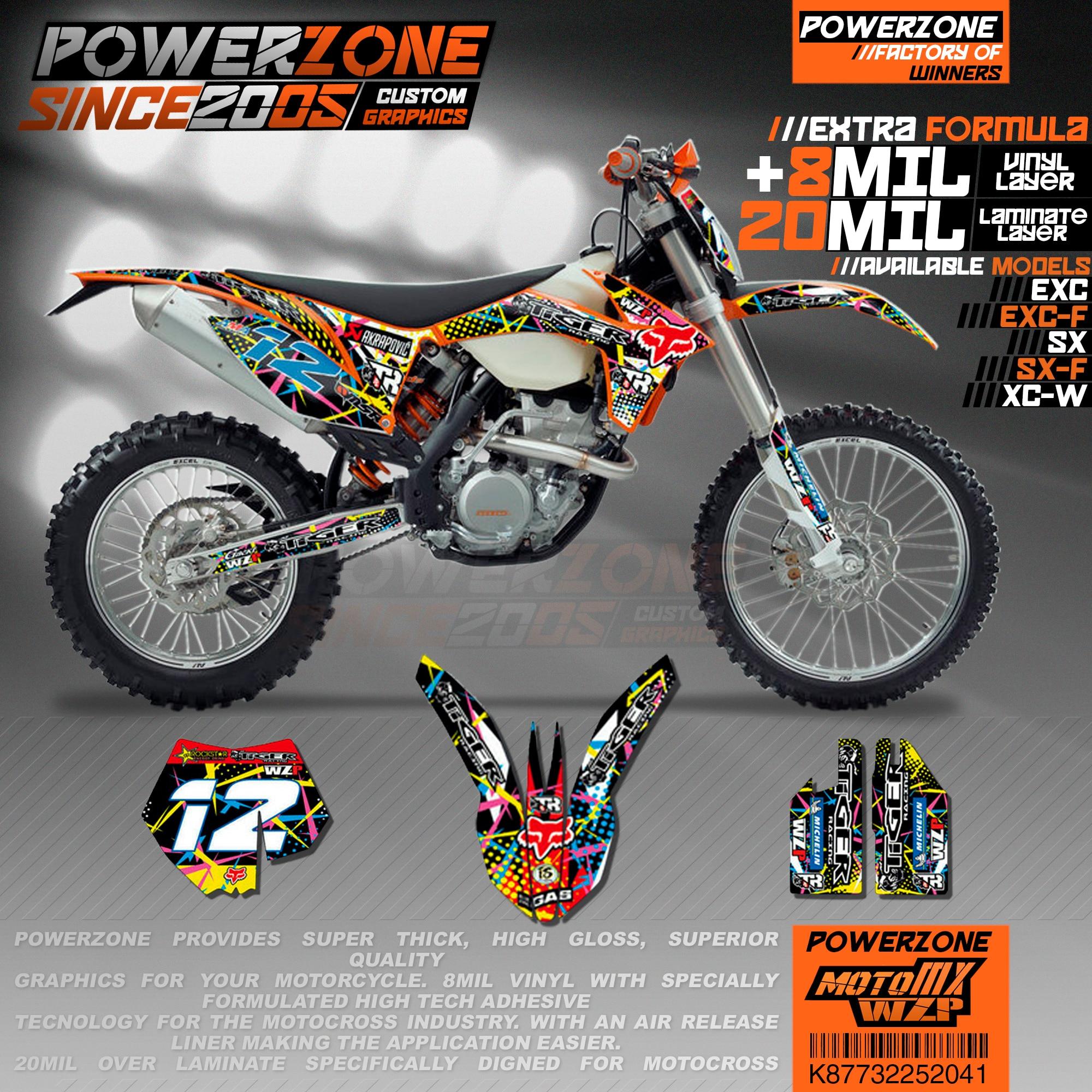 PowerZone Custom Team Graphics Backgrounds Decals 3M Stickers Kit For KTM SX SXF MX EXC XCW