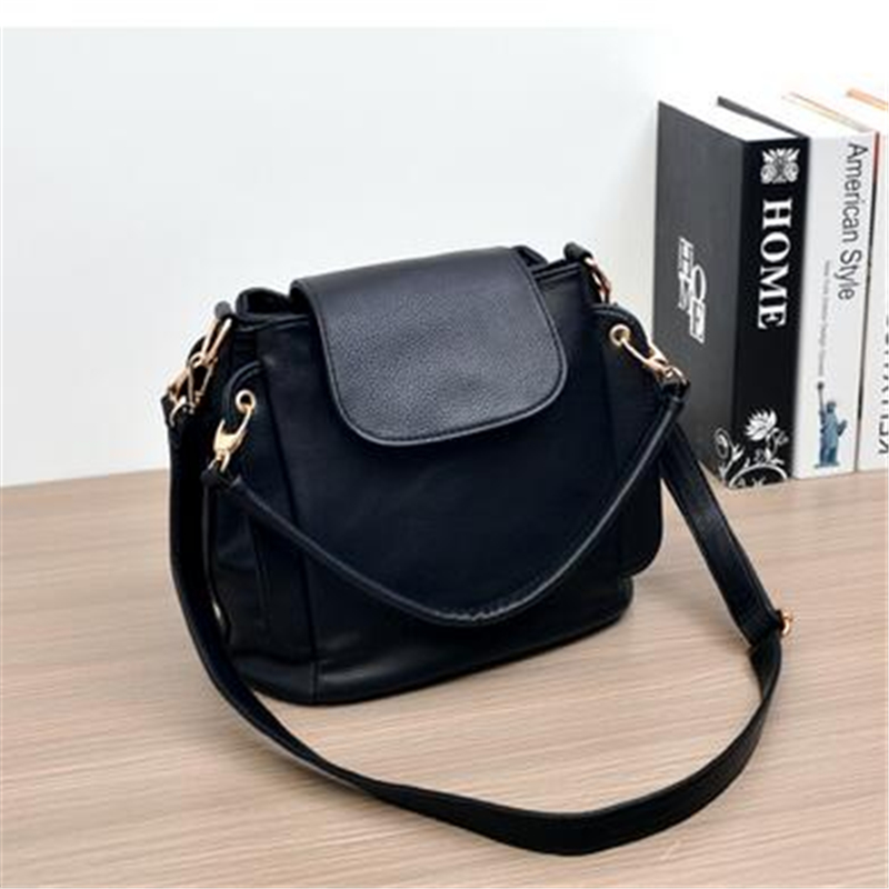 New Korean Version Women Bag High Quality PU Leather Handbag Solid Color Leisure Bucket Bags Shoulder Messenger Bag