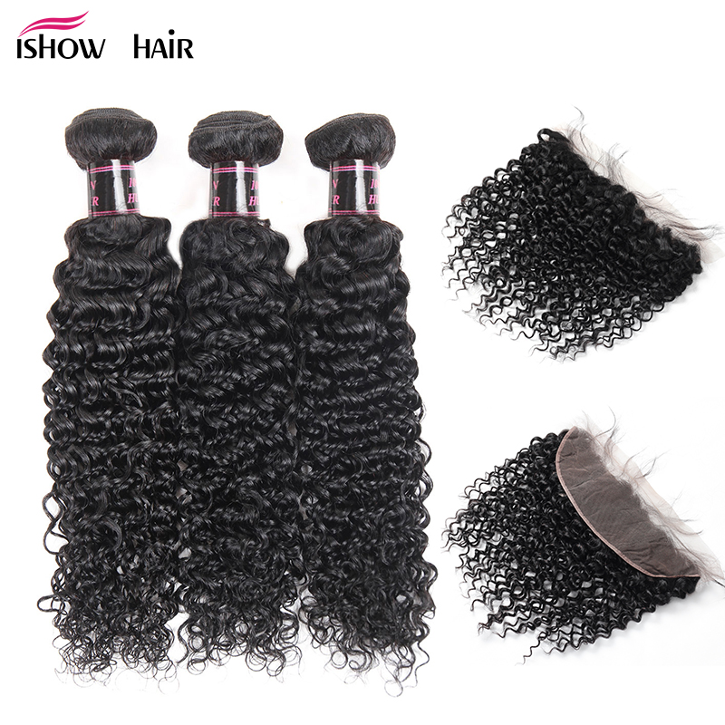 Ishow Brazilian Curly Hair Bundles With Frontal Non Remy Human Hair Weave 3 Bundle Ear To
