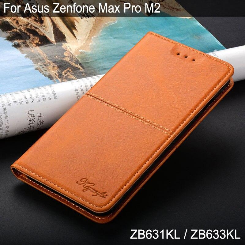 Para ASUS Zenfone Max Pro M2 ZB631KL ZB633KL coque Vintage de lujo de la caja del teléfono de cuero cubierta abatible con soporte de tarjeta ranura funda