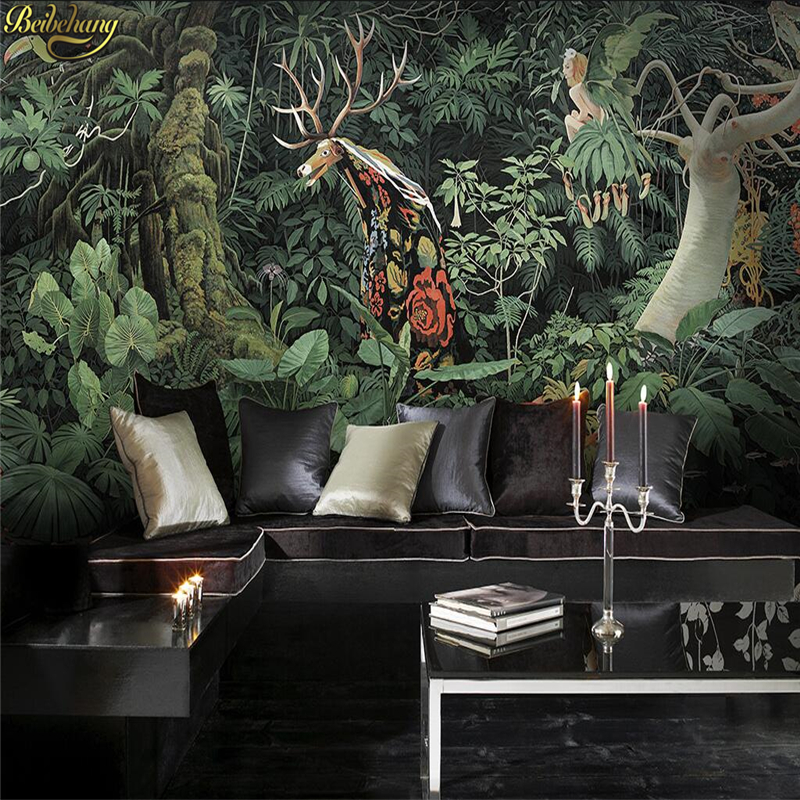 Beibehang Hand Painted Giraffe Jungle Lush Tropical Rainforest Large Mural Cafe Lounge Custom Personalized Wallpaper Mural