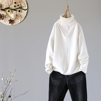 Winter New Turtleneck Women Sweaters And Pullovers Hot Pink Loose Thicken Warm Lady Pulls All Match Outwear Coat Tops 7