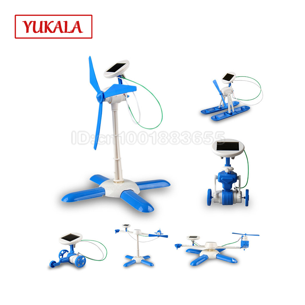 6in1 Education Diy Solar Kit Robot Wheeler Helicopter Plane Airboat Bullet Train Educational Gift For Child Boy Gril Boys Toy In Model Building Kits From Toys Hobbies On