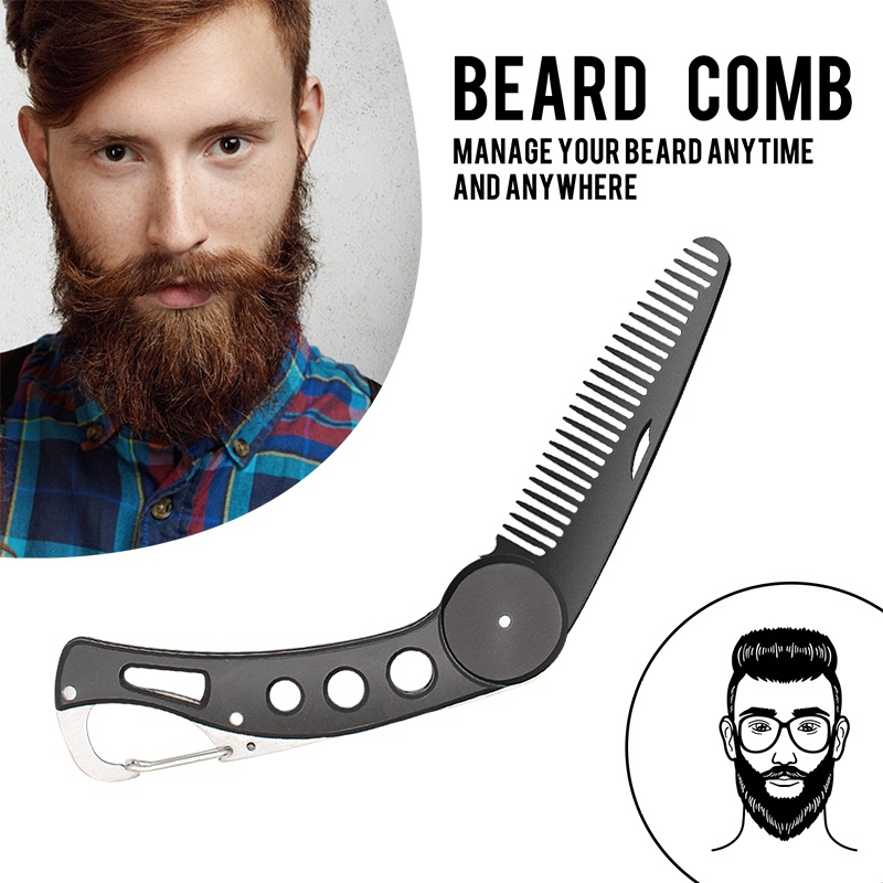 1 Pcs Mens Beauty Beard Comb Handmade Folding Pocket Clip Hair Moustache Beard Comb