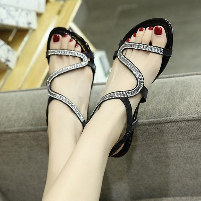 9b9a679e4d36fa New Designer diamond design Female Summer Sandals Rhinestone Wedges Fashion  Large Size 35 42 Women Sandals -in Low Heels from Shoes on Aliexpress.com  ...