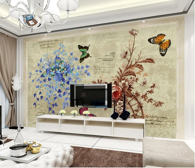 3d Carta Da Parati Per Camera Moda Moderna Floreale Farfalla Sfondo
