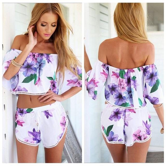 2016 nova marca Sexy mulheres Playsuits violeta do ombro Floral impresso verão Playsuit D8061