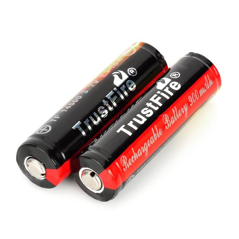 2 PCS/ lot TrustFire Protected 14500 3.7V 900mAh Rechargeable Lithium Batteries for flashlights2 PCS/ lot TrustFire Protected 14500 3.7V 900mAh Rechargeable Lithium Batteries for flashlights