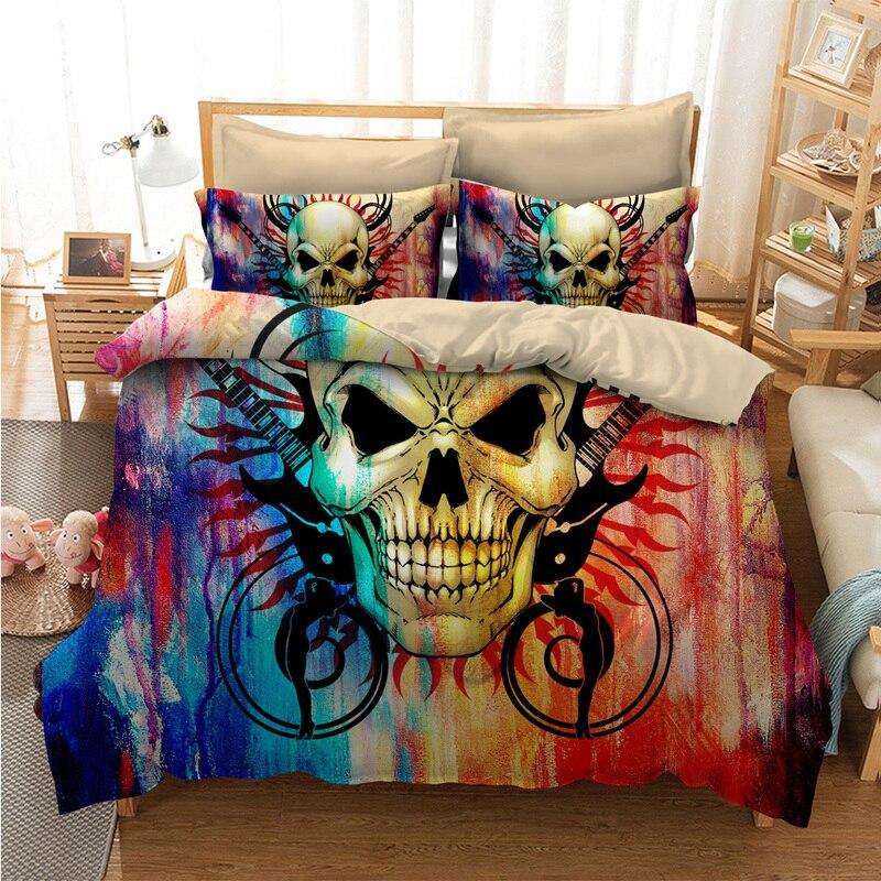 Fanaijia multicolore del cranio Bedding Set per King Size 3D del cranio dello zucchero copripiumino con federa AU Regina Letto bedline