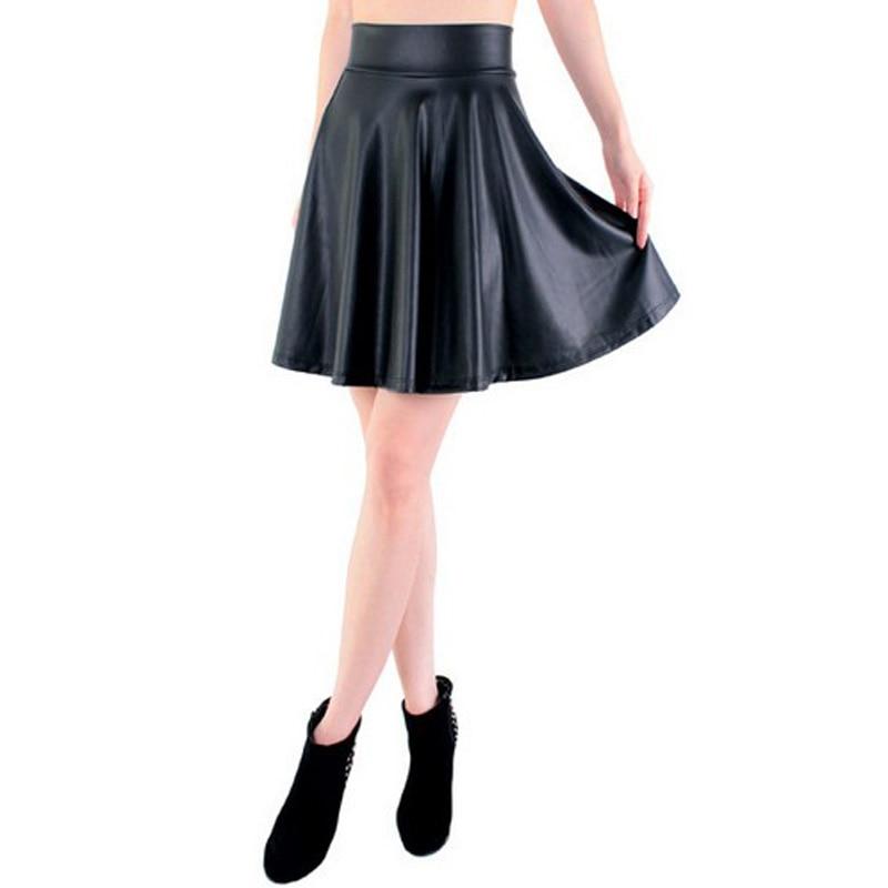 Livraison gratuite nouvelle taille haute faux cuir skater flare jupe casual mini jupe longueur au genou solide couleur noir jupe S/M/L/XL