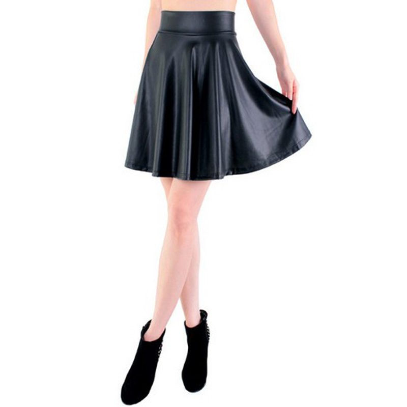 Free Shipping New High Waist Faux Leather Skater Flare Skirt Casual Mini Skirt Knee Length Solid Color Black Skirt S/M/L/XL