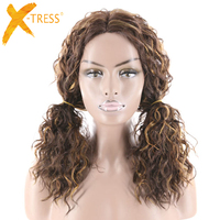 Kinky Curly Lace Part Synthetic Hair Wigs Middle Part Mixed Brown Black Color Medium Length Hairpiece X TRESS Hair Wig For Women