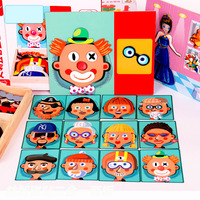 Magnetic wood blocks jigsaw children Tangram board cartoon educational learning toy drawing baby toys for kids girls boys gifts