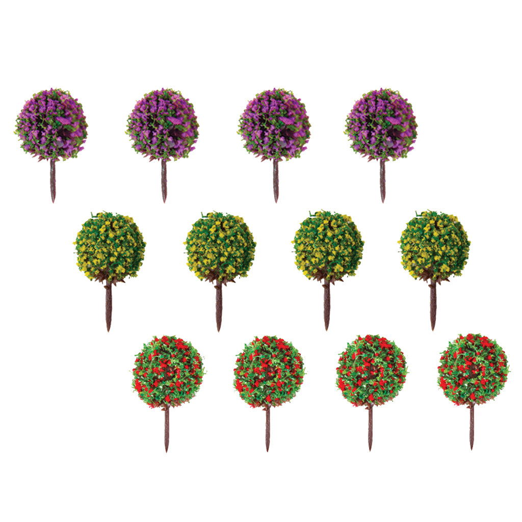 30pcs Mixed 3 colors Flower Model Train Trees Ball Shaped Scenery Landscape 1/100 Scale Model Building Kits Toys Supplies