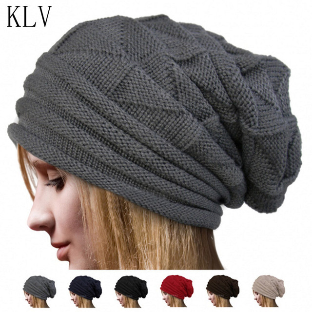 5997c0834d3 KLV Women Men Warm Hats Beanie Winter Knitting Wool Fluff Crochet Hat Wool  Knit Beanie With Velvet Cap Ski Warm Caps Drop ship