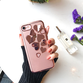 South Korea 3D Plating Heart Case for iPhone7 7plus Silver/Rose/Gold LOVE Heart Coques for iPhone 6 6s 6plus 6splus Clear Cover