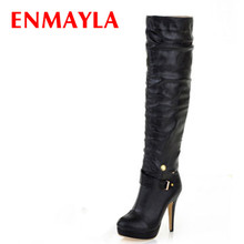 ENMAYER Size34 -43 New2015 Winter Knee High Boots Women Motorcycle Two Way Wear Heels Soft Leather Shoes winter boots