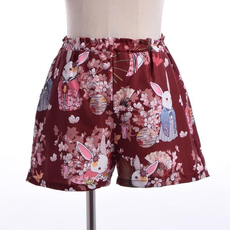 Kvinnor Japansk stil Harajuku Shorts Onegai Usagi Bönkanin Print - Damkläder - Foto 2