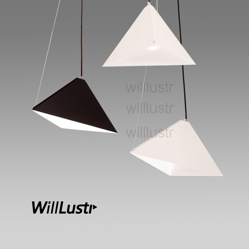 Willlustr triangular pyramid suspension lamp dinning room living room metal pendant light hotel hall restaurant hanging lighting купить