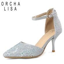 cc82145d ORCHA LISA damskie buty ślubne buty z kryształkami szpilki z paskiem na  kostce wysokie obcasy buty damskie Bling szpiczasty ślub.