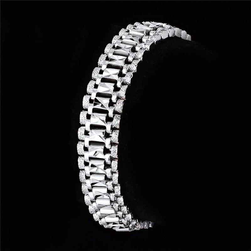 U7 Mens Bracelet Punk Rock Style Black/Silver/Gold Color Big Wide Chunky Chain Link Bracelets Meditation Men Jewelry Gift H550 9