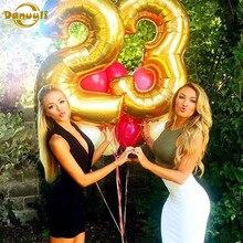 1pc 16/32/40 polegada rosa ouro folha de prata número balões 0-9 feliz aniversário festa decoração para crianças weding globo bola suprimentos