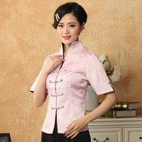 New Arrival Pink Chinese Women Cotton Tang Suit Tops Casual Short Sleeve Shirt Elegant Slim Blouse S M L XL XXL XXXL WS052
