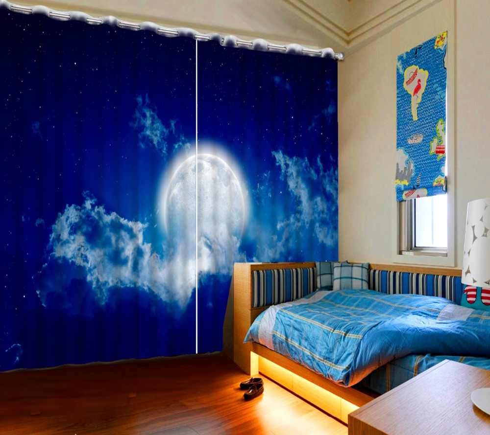 The Bedroom Living Room Curtains Blackout Sheer Curtains Moon Blue Sky Kids Girls Room Curtain Drapes Customize