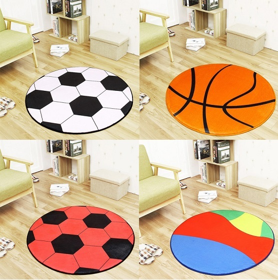 Black White Football Basketball Volleyball Round Carpet Kids Room