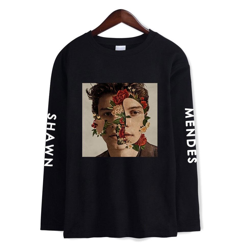309c2232d7d47 BTS Kpop los hombres y las mujeres los Fans ropa 2018 camiseta Harajuku  o-Cuello Kawaii manga larga Shawn Mendes camiseta Hip Hop Plus tamaño 4XL  ...